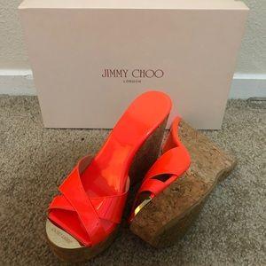 New Jimmy Choo Neon Orange sandals size 35